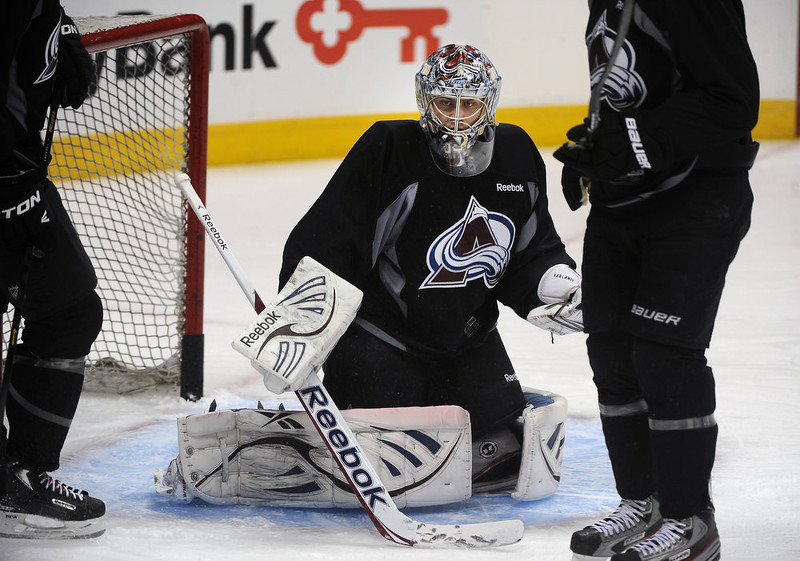 . Avalanche goalie Semyon Varlamov guards the net during practice January 17th, 2013. The Colorado Avalanche hit the ice for the first time this season at the Pepsi Center.  After long months of contract negotiations the season has finally started. Helen H. Richardson, The Denver Post