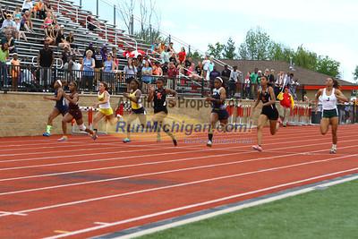 D1 Girls 100M Finals - 2013 MHSAA LP Track and Field