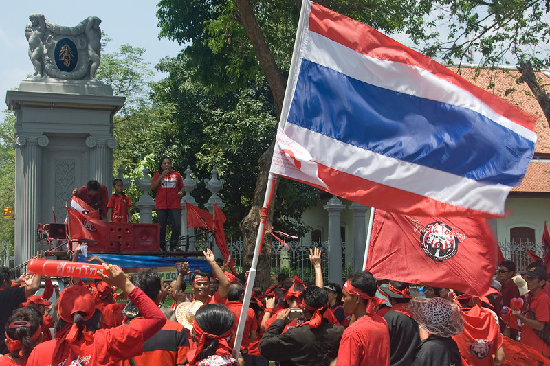 Protesters gather during the Red Shirt Protest in Thailand