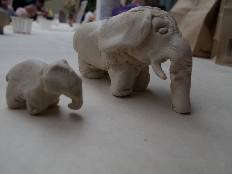 The project was to make an elephant.. they gave me a lump of clay... I ended up having some left over so I made a baby