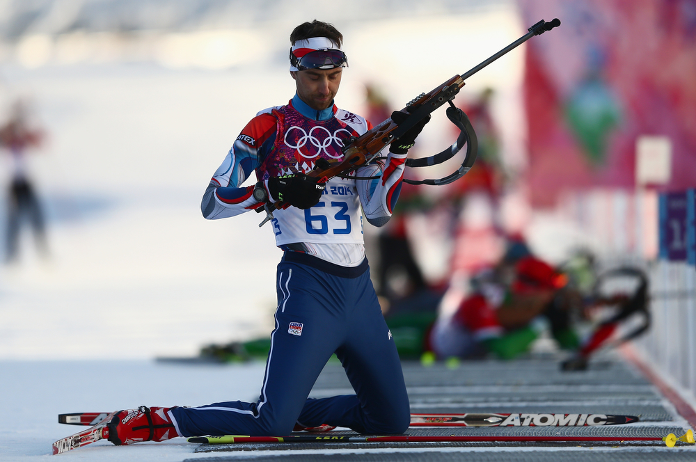 . Tomas Krupcik of the Czech Republic practices ahead of the Men\'s Sprint 10 km during day one of the Sochi 2014 Winter Olympics at Laura Cross-country Ski & Biathlon Center on February 8, 2014 in Sochi, Russia.  (Photo by Clive Mason/Getty Images)