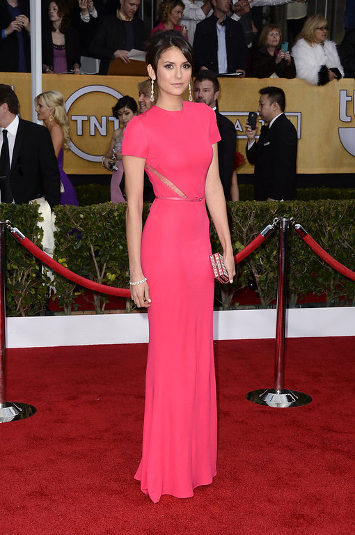 . Actress Nina Dobrev arrives at the 19th Annual Screen Actors Guild Awards held at The Shrine Auditorium on January 27, 2013 in Los Angeles, California.  (Photo by Frazer Harrison/Getty Images)