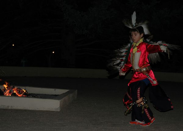 Youth dancers from Taos Pueblo performed around the fire at the hotel Friday night.