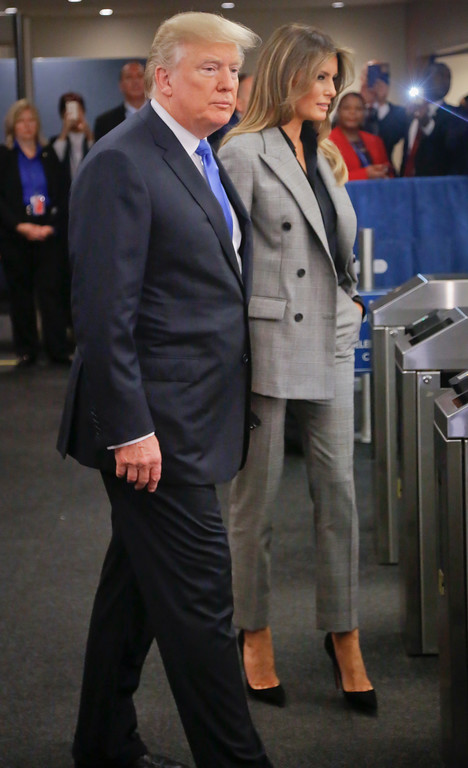 . U.S. President Donald Trump arrives with first lady Melania Trump for the meeting of the United Nations General Assembly, Tuesday Sept. 19, 2017 at U.N. headquarters. (AP Photo/Bebeto Matthews)