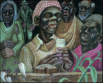 "John Biggers, ""Aunt Dicy and her Snuff Dipping Neighbors"""