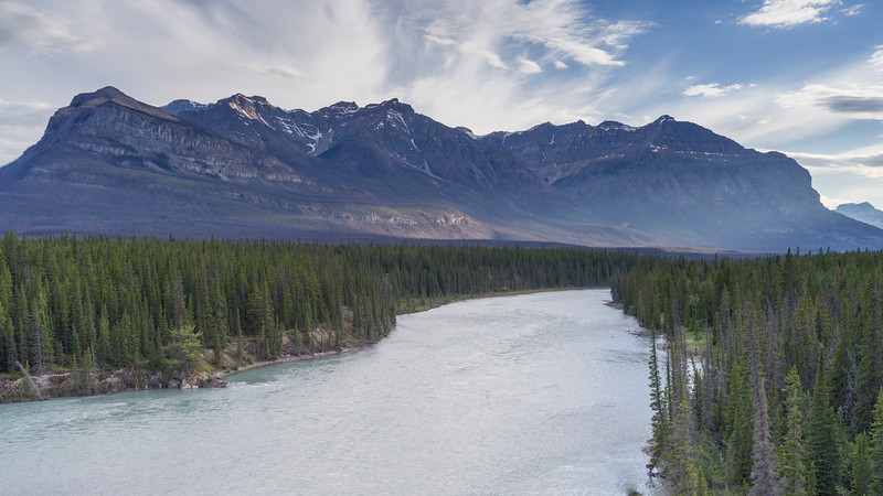 River with mountains in the background, North Saskatchewan River, David Thompson Highway, Clearwater County, Alberta, Canada