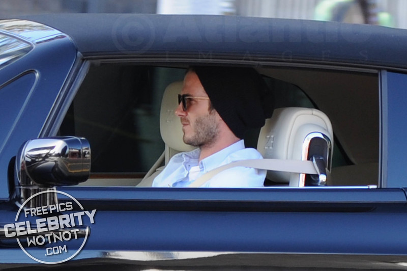 EXCLUSIVE: David Beckham Cruises Along Sunset Boulevard In His Rolls Royce Phantom