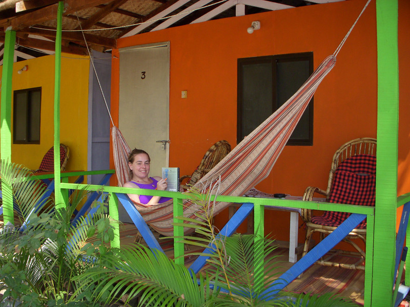Cheryl in the hammock on the porch of our beach hut in Palolem