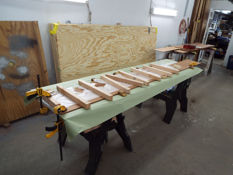 Another view of the plank being glued to make it wide enough.