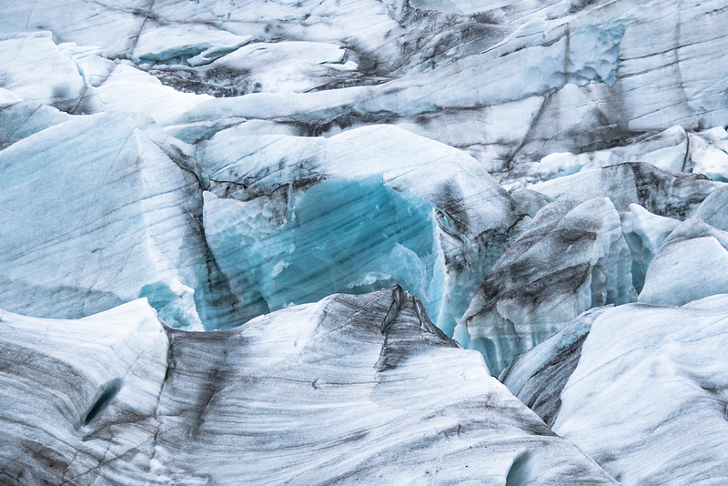 Abstract Glacier Ice In Southern Region, Iceland 2015