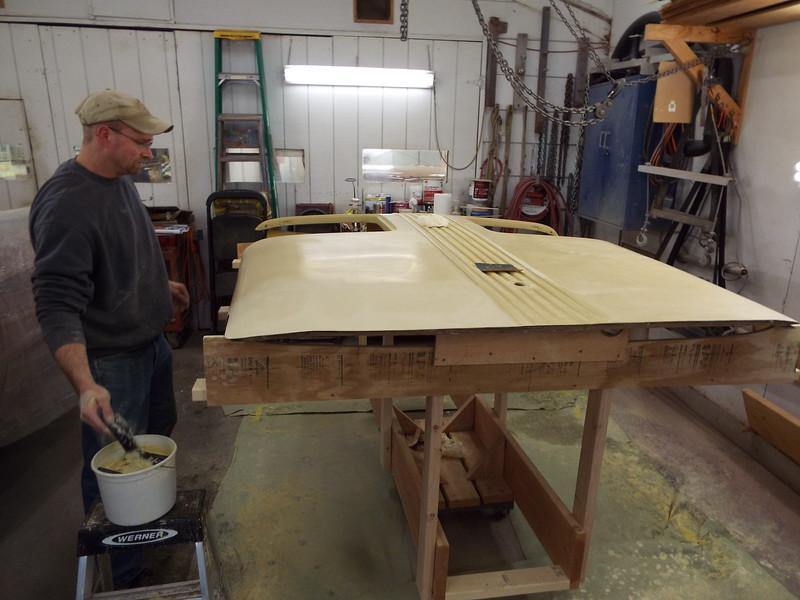 Wet sanding the second coat of sealer.
