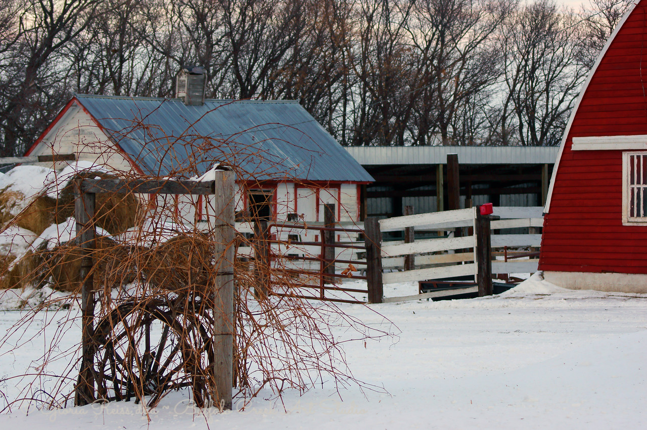 Farm at rest in winter.
