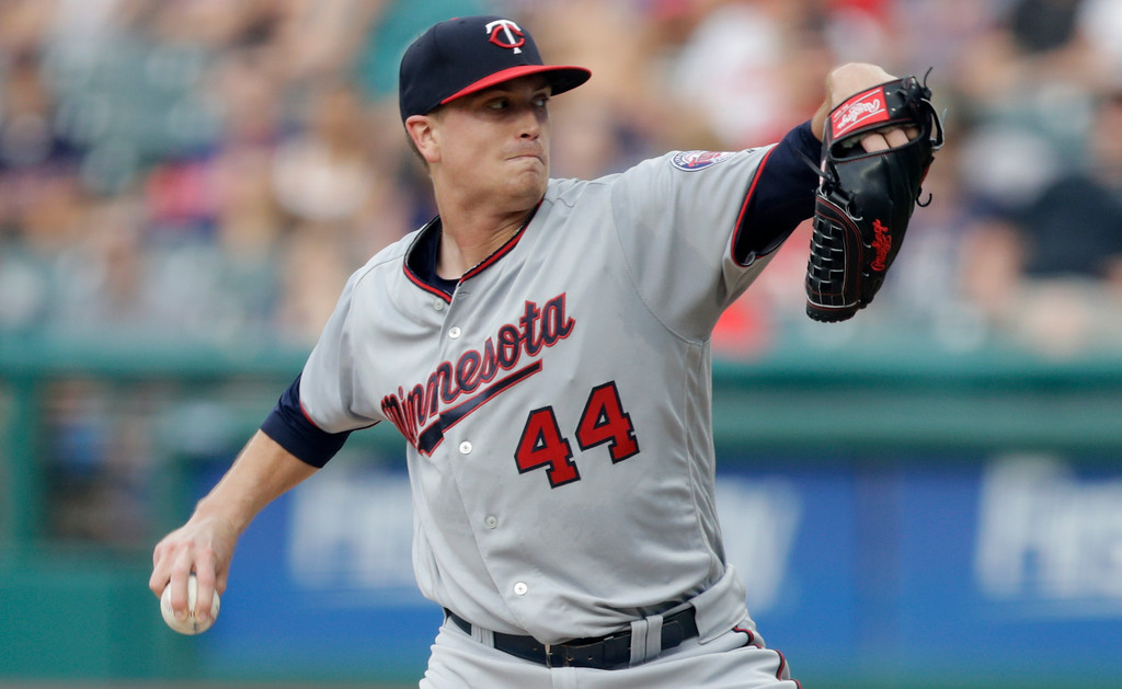 . Minnesota Twins starting pitcher Kyle Gibson delivers in the first inning of a baseball game against the Cleveland Indians, Monday, Aug. 6, 2018, in Cleveland. (AP Photo/Tony Dejak)