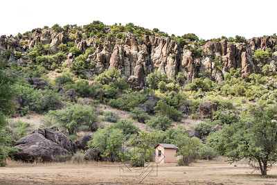 Small military guard shack on west Texas landscape