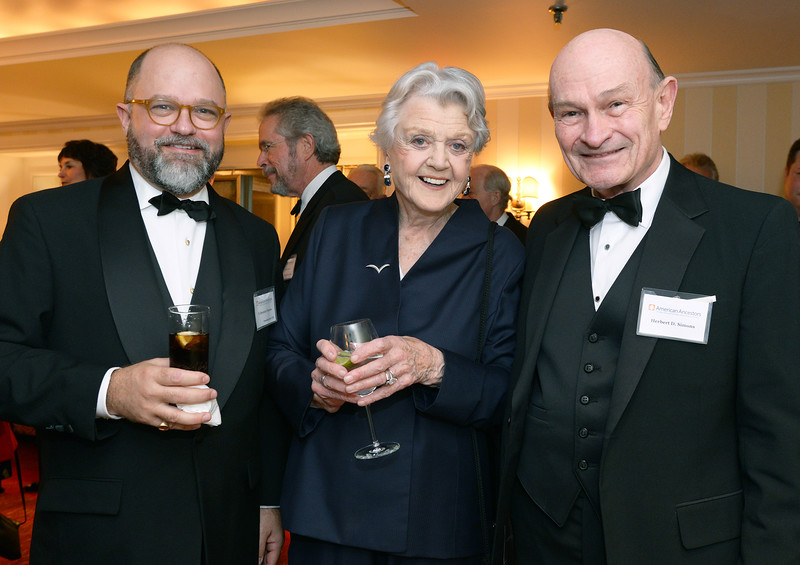 NEHGS President and CEO, Dame Angela Lansbury, and NEHGS Patron Herbert Simons.