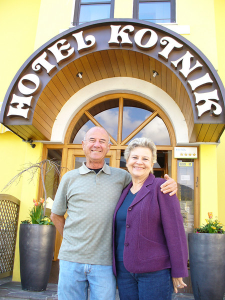 My parents outside our hotel in Kranjska Gora, Slovenia.