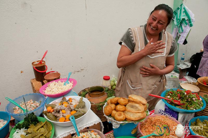 Etla Market Vendor and Chile Rellenos -- Oaxaca, Mexico