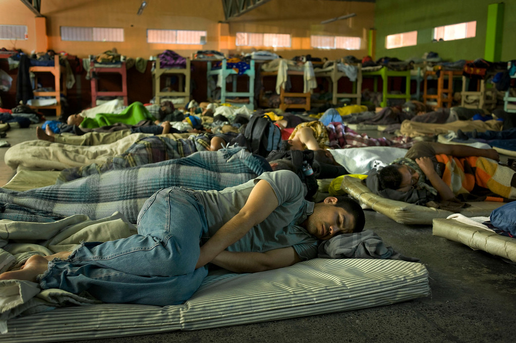 . Men sleep at the La Roca del Alfarero, a Christian-run homeless shelter in Tijuana, Mexico, 07 May 2013. Approximately 120 men, the majority of whom are deportees, stay at the shelter. Heightened US border security and record numbers of deportations from the US have created a growing population of people who live homeless in Mexican cities that border with the United States. Many had lived for years undocumented in the US and have little or no family and other support in Mexico, and are subject to fall into depression, substance abuse and crime. Tijuana, Mexico, borders on the US city of San Diego, California.  EPA/DAVID MAUNG