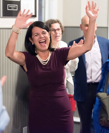 08/14/18 Wesley Bunnell | Staff Democratic Candidate for Connecticut's 5th Congressional District Mary Glassman enters her campaign night headquarters on Tuesday night at The Kitchen in New Britain.