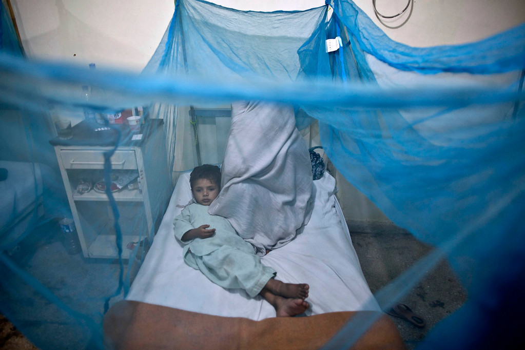 . A Pakistani child suffering from the mosquito-borne disease, dengue fever, lies in a bed, next to his mother, covered with a net at an isolation ward of a hospital in Rawalpindi, Pakistan, Monday, Nov. 11, 2013. Dengue, a flu-like illness is spread by the Aedes mosquito and spikes during the annual monsoons, when the rains leave puddles of stagnant water where the insects breed. (AP Photo/Muhammed Muheisen)