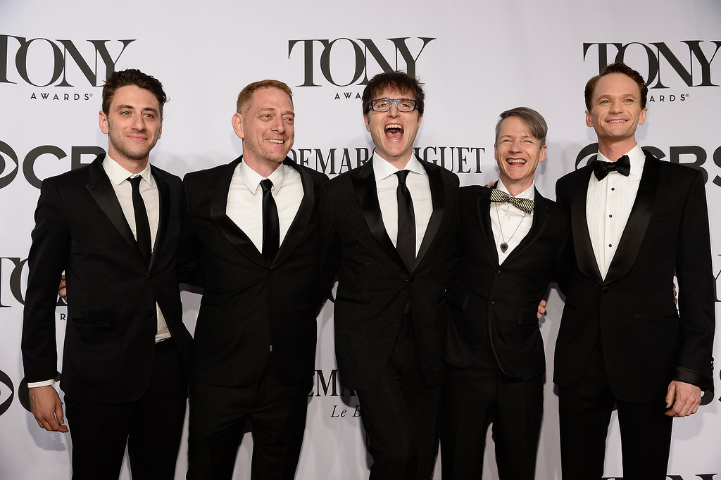 . David Binder, StephenTrask, John Cameron Mitchell and Neil Patrick Harris attend the 68th Annual Tony Awards at Radio City Music Hall on June 8, 2014 in New York City.  (Photo by Dimitrios Kambouris/Getty Images for Tony Awards Productions)