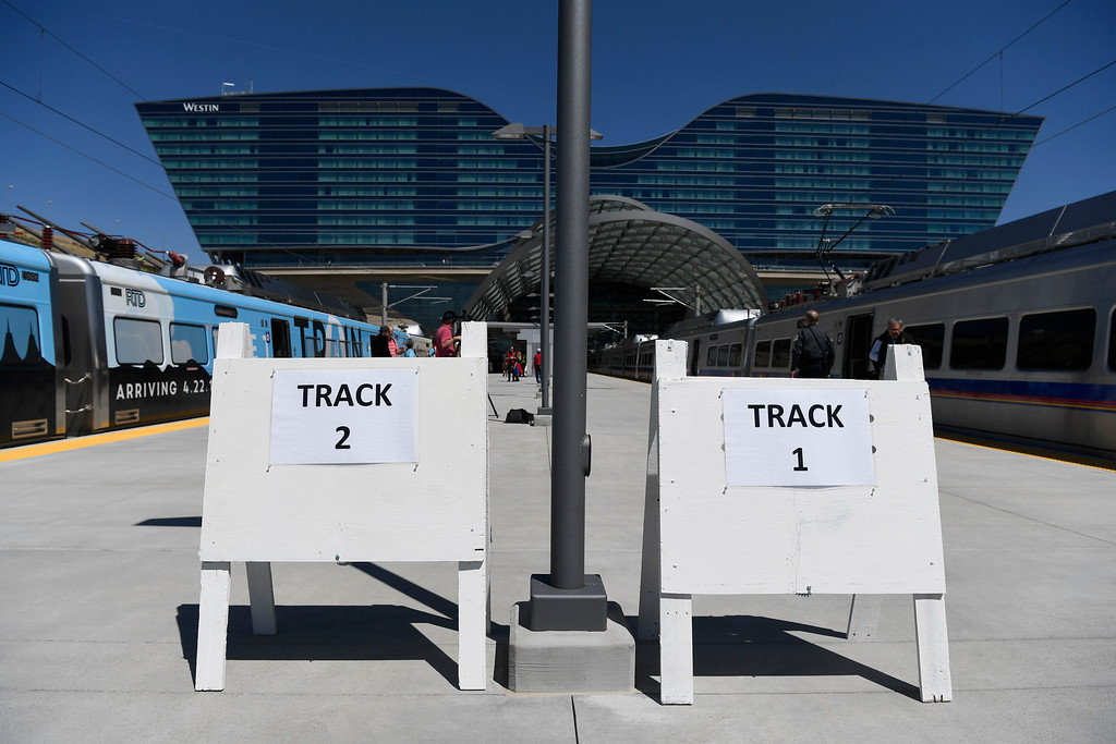 . Two tracks open for the new RTD University of Colorado A-Line train at Denver International Airport April 22, 2016. (Photo by Andy Cross/The Denver Post)