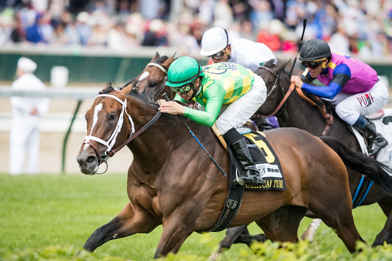 Arklow (Arch) wins the American Turf (G2) at Churchill Downs on 5.6.2017. Mike Smith up, Brad Cox trainer, Donegal Racing owners.
