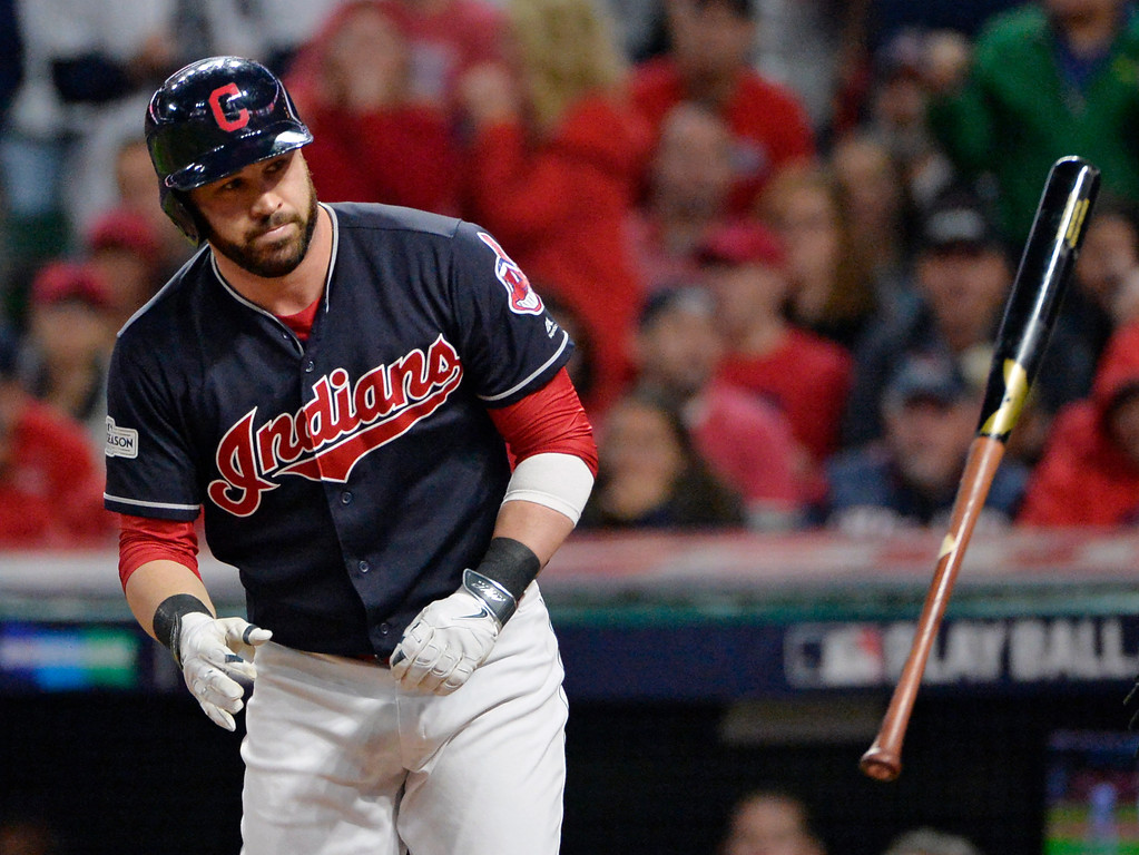 . Cleveland Indians\' Jason Kipnis throws his bat after striking out against New York Yankees relief pitcher Aroldis Chapman during the eighth inning of Game 5 of a baseball American League Division Series, Wednesday, Oct. 11, 2017, in Cleveland. (AP Photo/Phil Long)