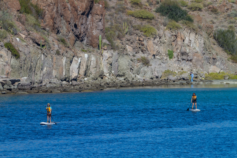 Women doing stand up paddleboarding in sea - Mexico