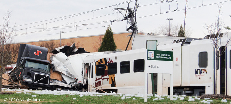 A Lightrail train crashed into a tractor trailer truck when the truck did not heed signs in Hunt Valley early morning on March 23, 2010 at the corner of McCormic Road and Clubhouse Road. Photograph by Nicole Jarrett