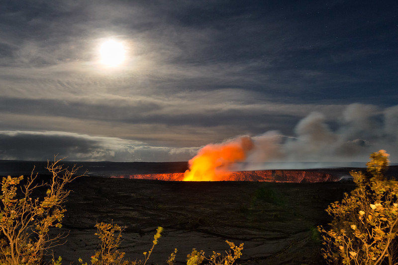 Kilauea Volcano Summit Lava Lake Full Moon