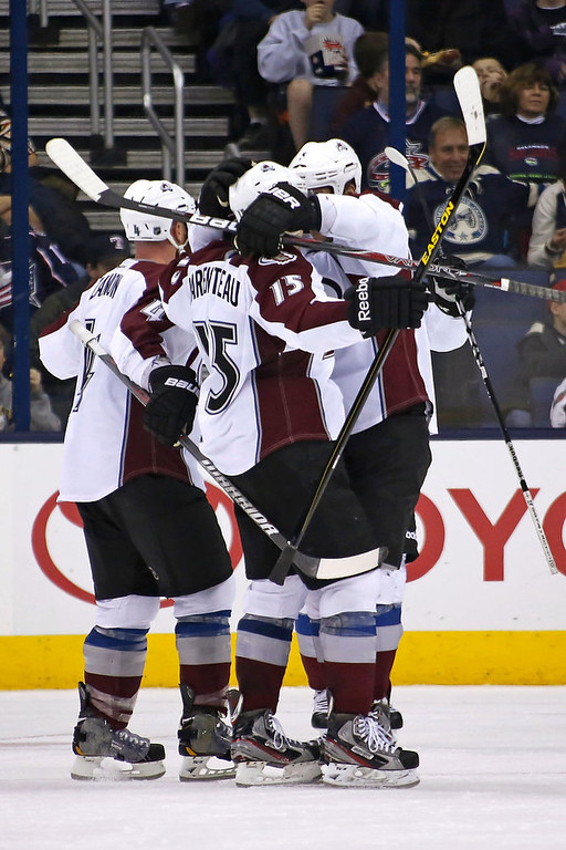 . P.A. Parenteau #15 of the Colorado Avalanche is congratulated by his teammates after scoring a goal against the Columbus Blue Jackets during the second period on March 3, 2013 at Nationwide Arena in Columbus, Ohio. (Photo by Kirk Irwin/Getty Images)
