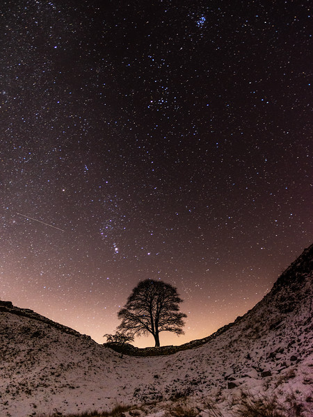 Night sky over Sycamore Gap