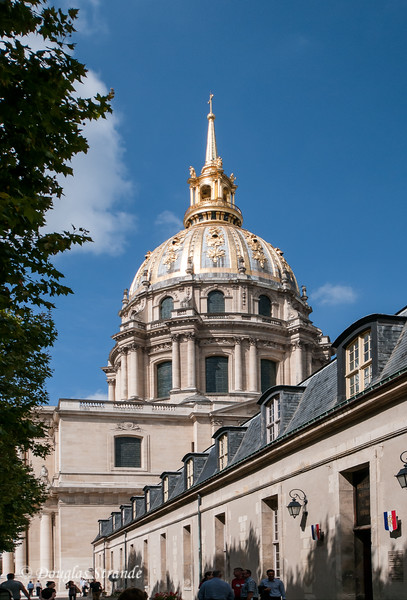The dome of Les Invalides, now a military museum.  Napoleon's tomb rests under the dome.
