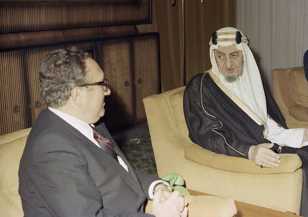 . 1974: King Faisal of Saudi Arabia. U.S. Secretary of State Henry Kissinger with King Faisal in 1974. (AP Photo)