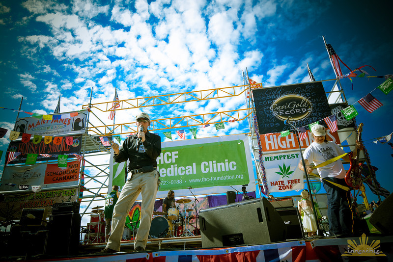 Seattle Hempfest Executive Director Vivian McPeak emcees Share Parker Main Stage.   Photo by INNERCHIE