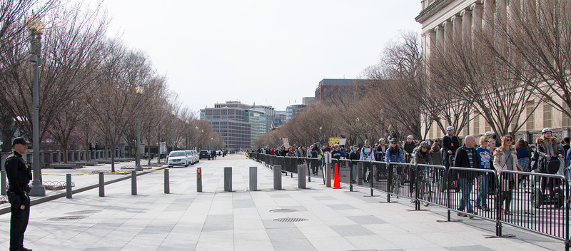 """After a spate of 'fence jumpers"""", the Secret Service has moved the barricades significantly farther back from the White House fence.. -- March for Our Lives, March 24, 2018 for ending gun violence in schools after the Parkland, FL school massacre."""