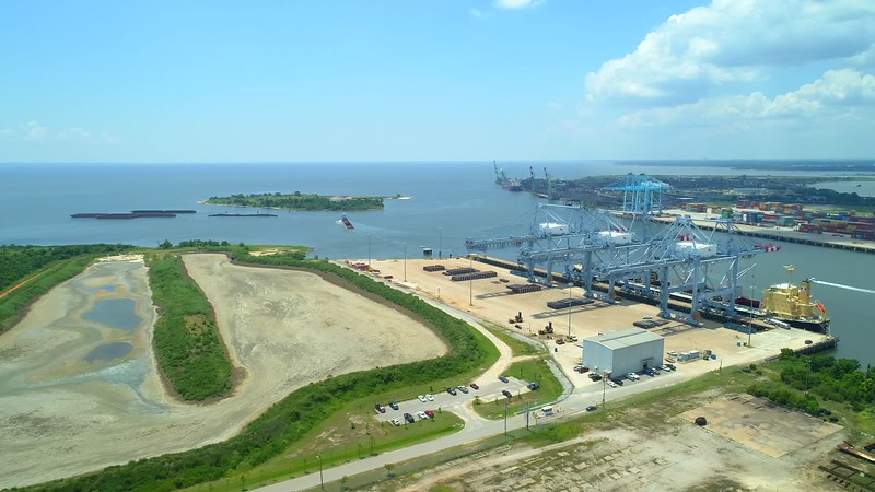 Port of Mobile and bay aerial drone footage 4k 24p