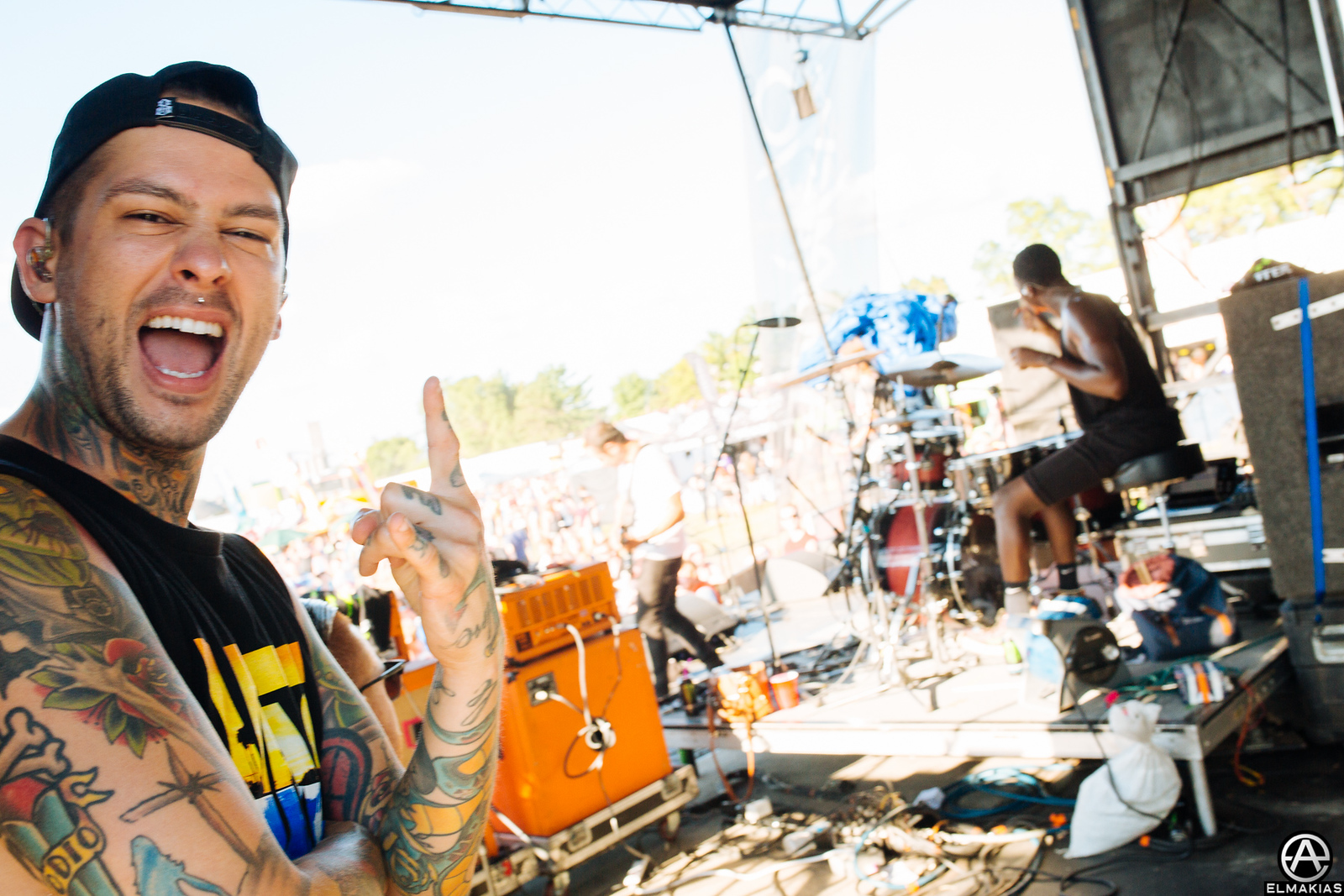 Mike Fuentes of Pierce the Veil side stage at Warped Tour 2015 by Adam Elmakias