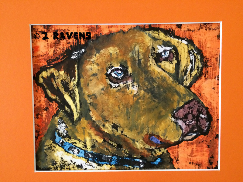 Dog in Orange, gouache and ink resist 8x10  SOLD