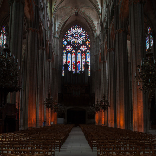 Bourges, Saint Stephen Cathedral Lighted Nave and Rose Window