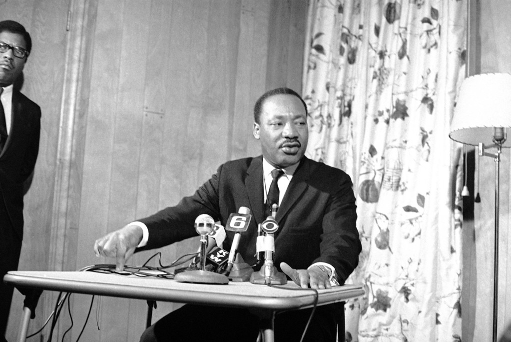 . Dr. Martin Luther King, of the Southern Christian Leadership Conference, tells a news conference in Philadelphia  Feb. 9, 1968 that he will go to Washington in April with thousands of supporters to demand a comprehensive job and income program from the Federal Government. He opened the first office in Philadelphia  February 9 in conjunction with this effort. Dr. King said that the temper of the program will be nonviolent, but his people will be prepared to stay until the government responds and legislation to that aim is reached. (AP Photo)