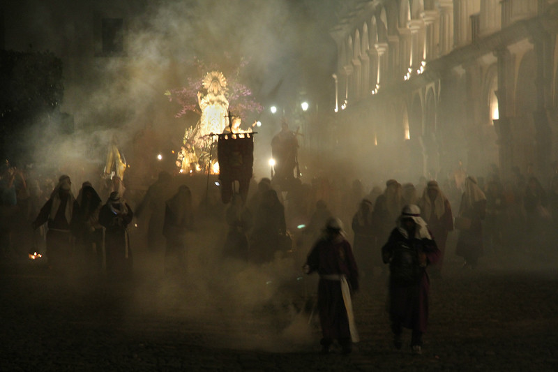 A nighttime Lent procession in Central Park in Antigua, Guatemala on March 24, 2013. Photo by Scott Umstattd