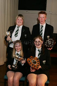 Prize night award winners. Front left, Linda Cochrane (Left) Year 8 Attainment Cup and Christine Oliver (right) Year 9 Attainment Cup. back row left, Laura Phillips, Maureen  McConnell Cup for ICT and (right) JamesAnnett, David Scott Shield for ICT.  48-31-06.