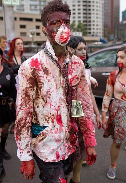 Zombie on Princes Bridge next to Federation Square