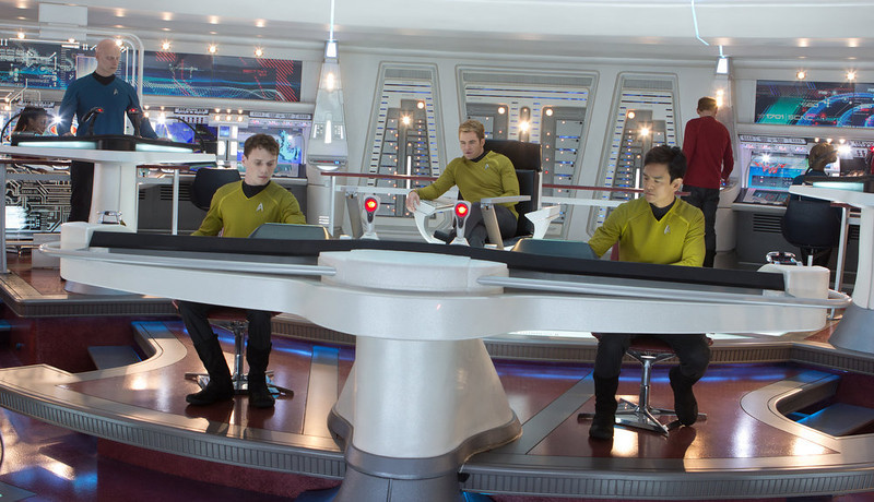 . (Front, left to right) Anton Yelchin is Chekov, Chris Pine is Kirk and John Cho is Sulu in STAR TREK INTO DARKNESS, from Paramount Pictures and Skydance Productions.      (Photo by Zade Rosenthal)