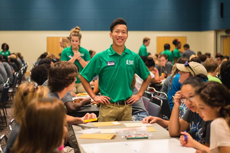 Orientation Leader, King Wu assists upcoming freshmen during summer orientation.