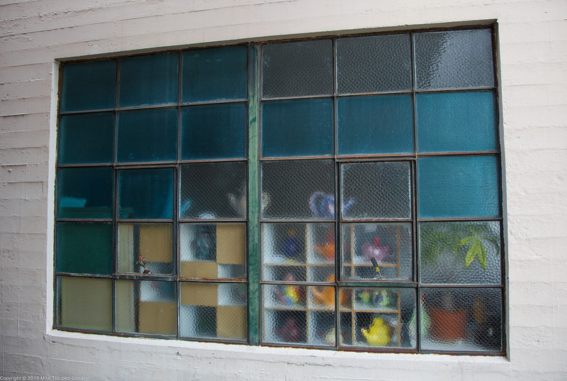 A back window of a shop in Monterey
