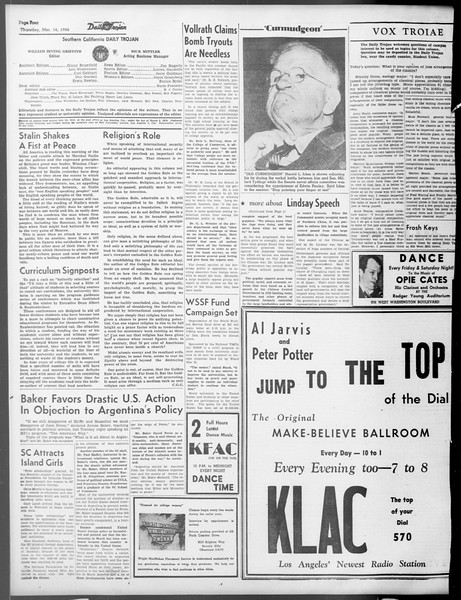 Daily Trojan, Vol. 37, No. 84, March 14, 1946
