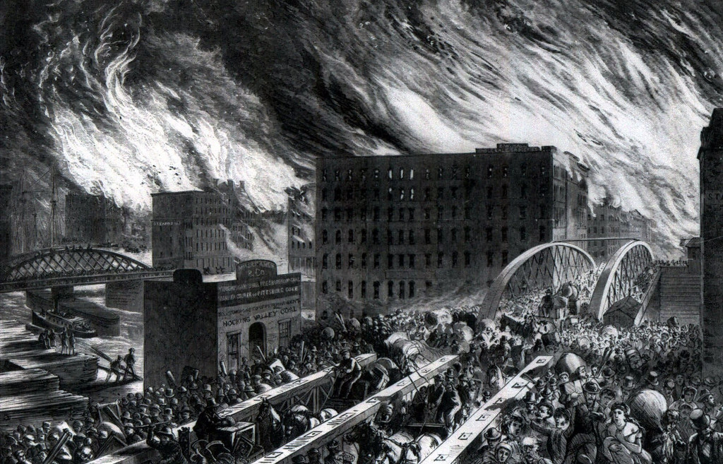 . An Artist\'s conception shows people fleeing the downtown area of the city during the Chicago fire on Oct. 8, 1871 .. (AP Photo)